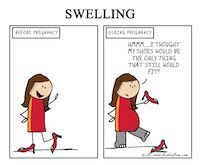 "Meme regarding swelling. It shows a before and after pregnant woman saying ""Ummm...I thought my shoes would be only thing that still would fit?"""