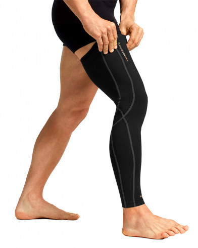 Man wearing one compression leg sleeves that are over the knee for knee support and blood flow