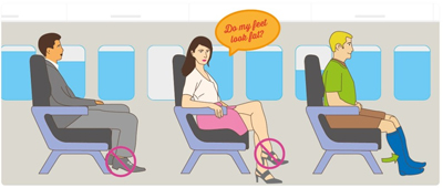 person suffering from puffy legs while travelling