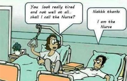 funny meme about nurse exhausted and lying on hospital emergency bed
