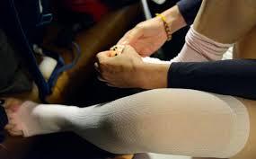 woman wearing socks before travelling