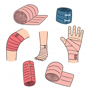 illustrated picture showing multicolored compression bandages, pink compression bandage on swollen hand and feet