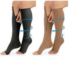 picture of person with zipping up compression socks.