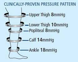 illustrated picture of a feet showing clinically-proven pressure pattern from ankle to upper thigh