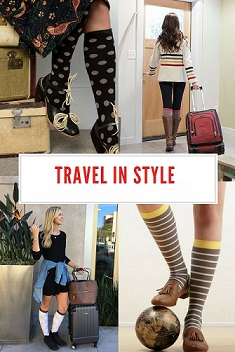 collage of people getting ready to travel wearing knee high compression socks