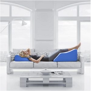 person laying down with legs elevated ,elevation technique