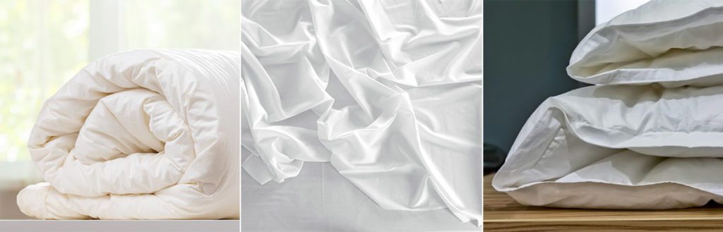 A photo collage of a rolled up duvet, a duvet cover, and a conventional comforter.