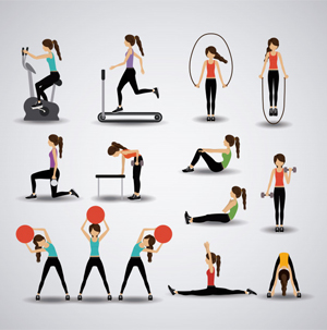 illustration showing woman exercising in various ways, woman weight lifting, woman on treadmill, woman running