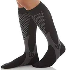 picture of black and white compression socks.