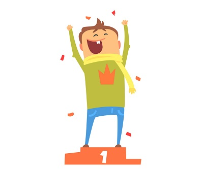 cartoon of a happy person gesturing on winning