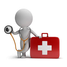 animated image showing medical box and person standing with stethoscope