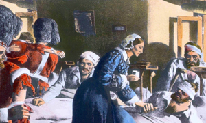 picture of Florence Nightingale treating injured soldiers of the Crimean war