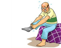 cartoonic image of an old man having trouble wearing socks