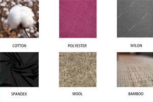 picture showing material types with which compression socks can be made, nylon compression socks, spandex compression socks, polyester compression socks, wool compression socks, bamboo compression socks, cotton compression socks