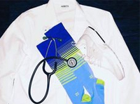 picture showing medical staff uniform with white lab coat, stethoscope