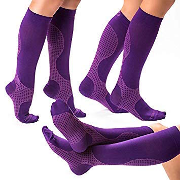 Purple knee high compression socks/circulation socks 20-30 mmHg for men