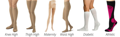 various lengths of compression garments