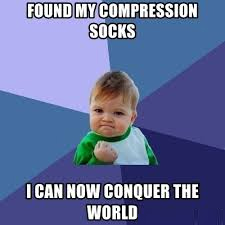 picture of funny proud baby meme for compression stockings