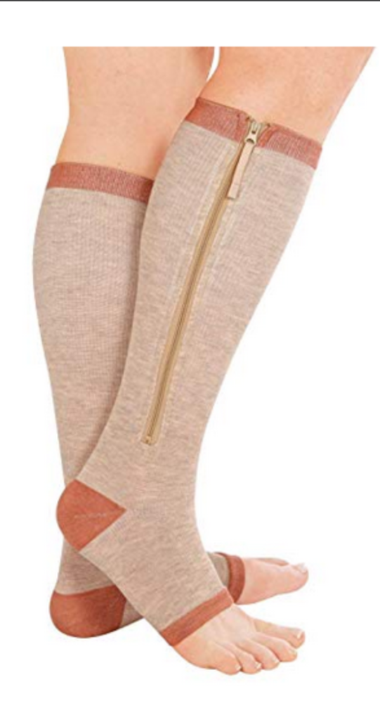 A Lady on Open Toe Multicolored mmHg knee High Zip Compression Socks