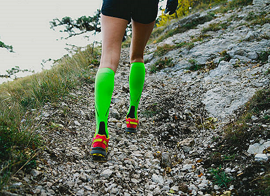A Professional Runner Wearing Compression Socks