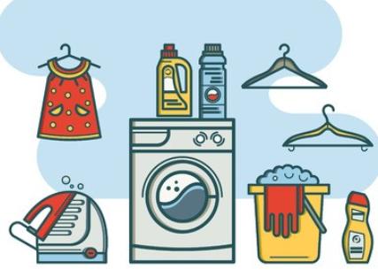 a cartoon of a laundry area
