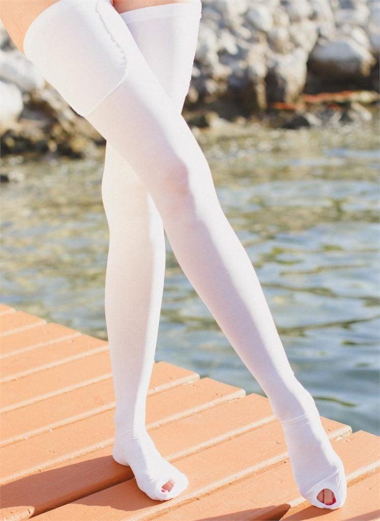 Anti-Embolism White Socks