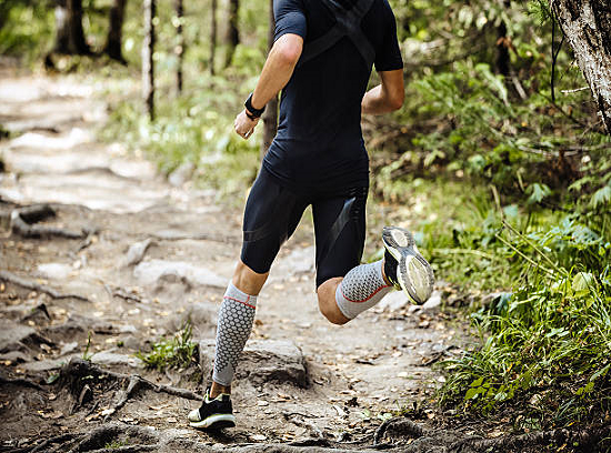 Athlete Wearing Compression Socks