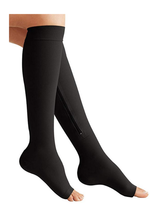 Black Color Open Toe mmHg knee High Zipper Compression Stockings For Women
