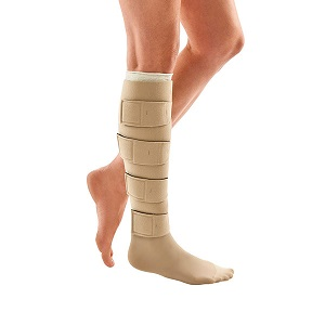 image of person wearing compression stocking zippered knee high