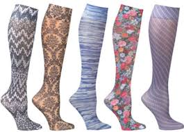 A picture of colorful knee-high maternal compression hosiery