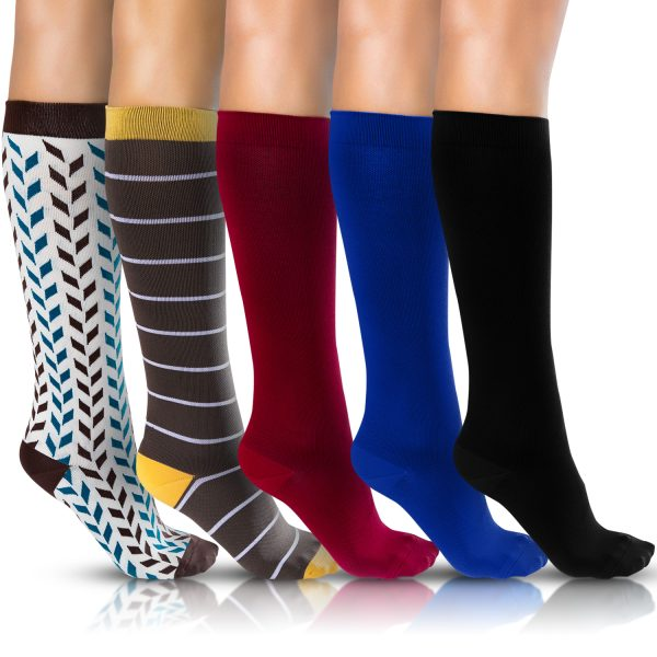 Compression Sock Colors White Brown Red Blue Black