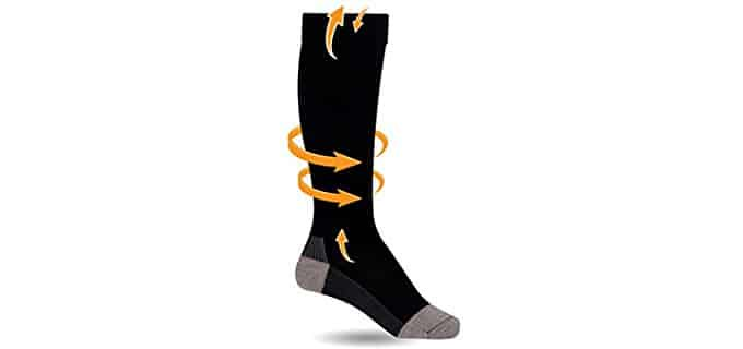 Whether at home in in the office, compression socks simply work to reduce swelling in the feet.