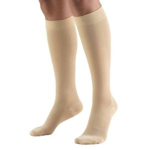 person wearing compression stocking