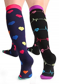 A picture of two people in cute compression socks