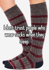 socks during sleep meme