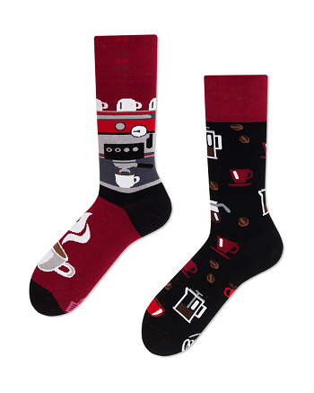 Red and Black pair of socks.