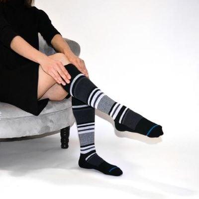 Pulling up compression socks