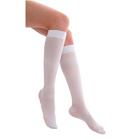 white knee-high anti-thrombosis stockings