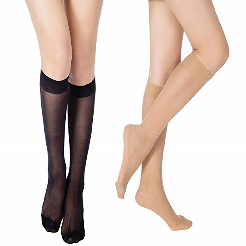 MANZI 12 pairs Knee High Pantyhose Hosiery for Women