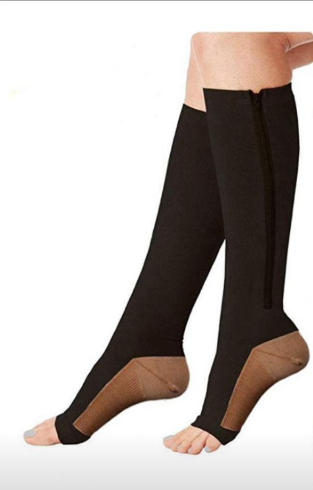 Multicolored mmHg knee High Zip Compression Socks Support Hose Suitable For Men and Women