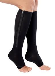 NuVein 15-20 mmHg knee high zip compression stockings