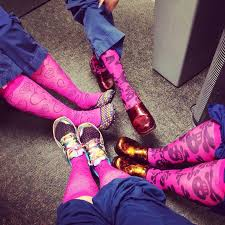 Nurses relaxed wearing pink compression socks