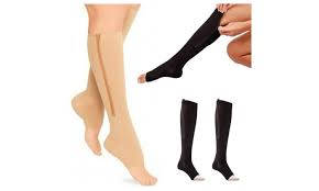 15-20 mmHg knee high zipper compression stockings