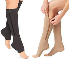 Presadee 15-20 mmHg knee high zipper compression stockings