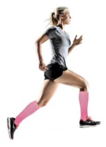 Runner out for a Training Run in a pair of pink compression socks