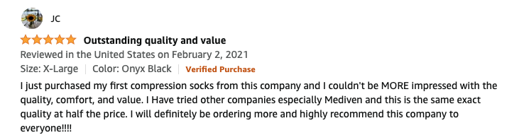 Feedback for wide calf compression socks