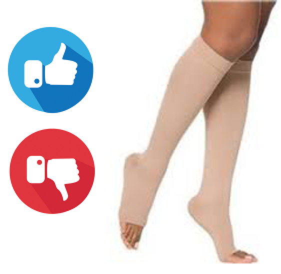 Compression socks next to thumbs up and thumbs down