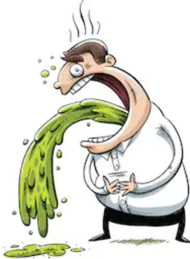 Cartoon graphic of a man puking green vomit