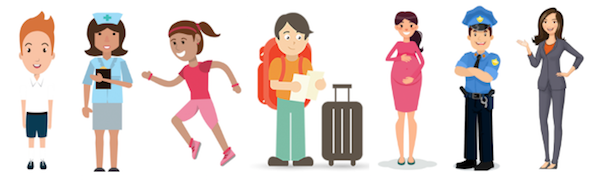 Graphics of multiple occupations like athlete, student, nurse, traveler, pregnant woman, policeman and office lady