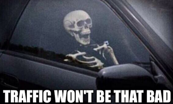Skeleton stuck in traffic meme